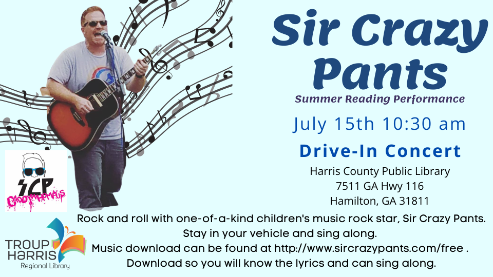 Summer Reading Live Performance: Drive- In Concert with Sir Crazy Pants