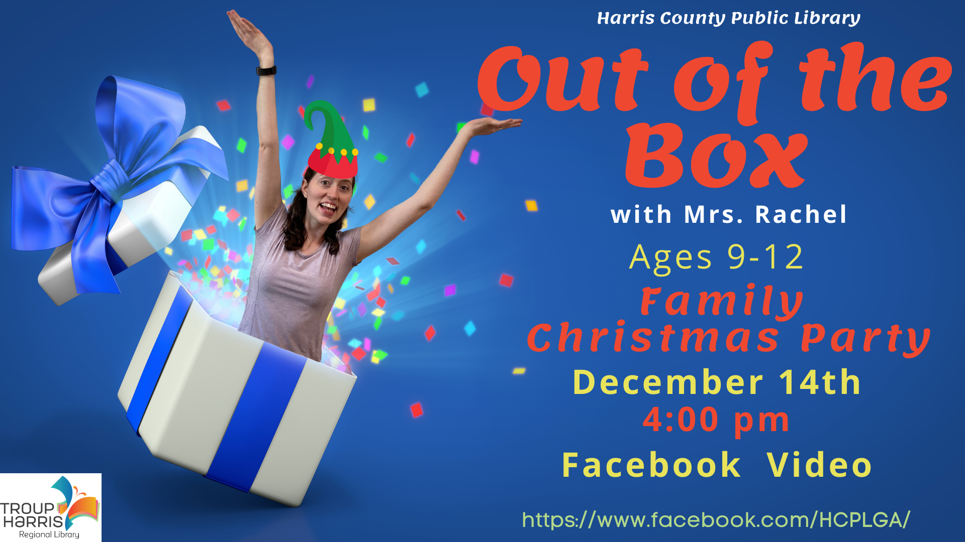 Out of the Box: Family Christmas Party December 14, 4 pm Facebook video