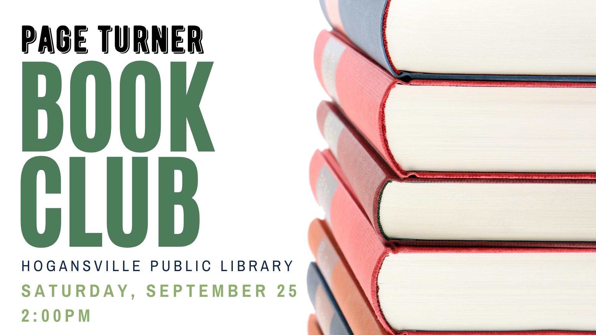 What have you been reading lately? Drop by the Hogansville Library on September 25 at 2 PM to share your latest reads. Open to all adults, no library card/registration required. Light refreshments provided.