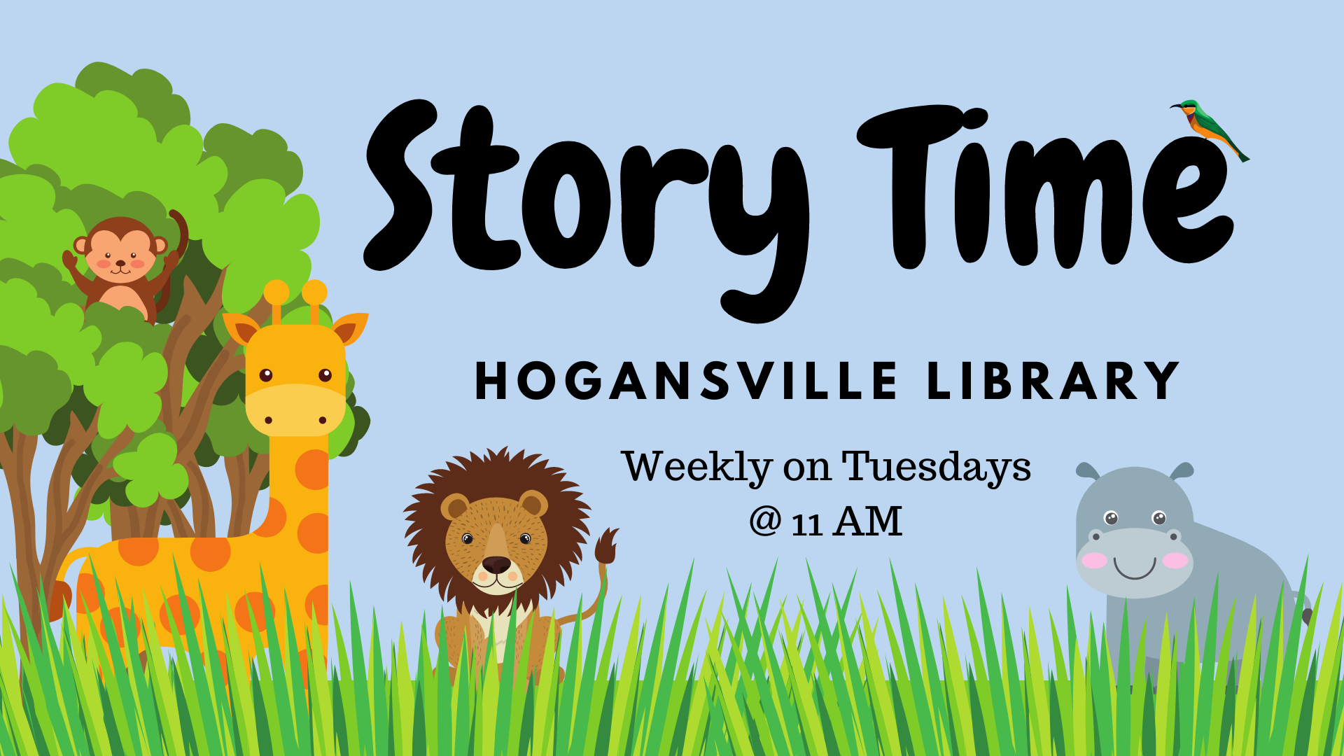 Join us every Tuesday at 11 AM at the Hogansville Public Library for stories, songs, and activities! Most appropriate for toddlers-PreK but all children are welcome. No library card/registration required.