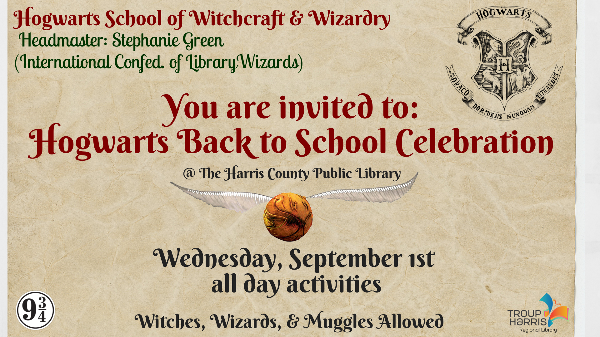 Come to the Harris County Public Library on Monday, September 1 to celebrate a new school year at Hogwarts! Harry Potter related activity stations will be set up all day. Come dressed in your favorite house or character. Muggles allowed as well.