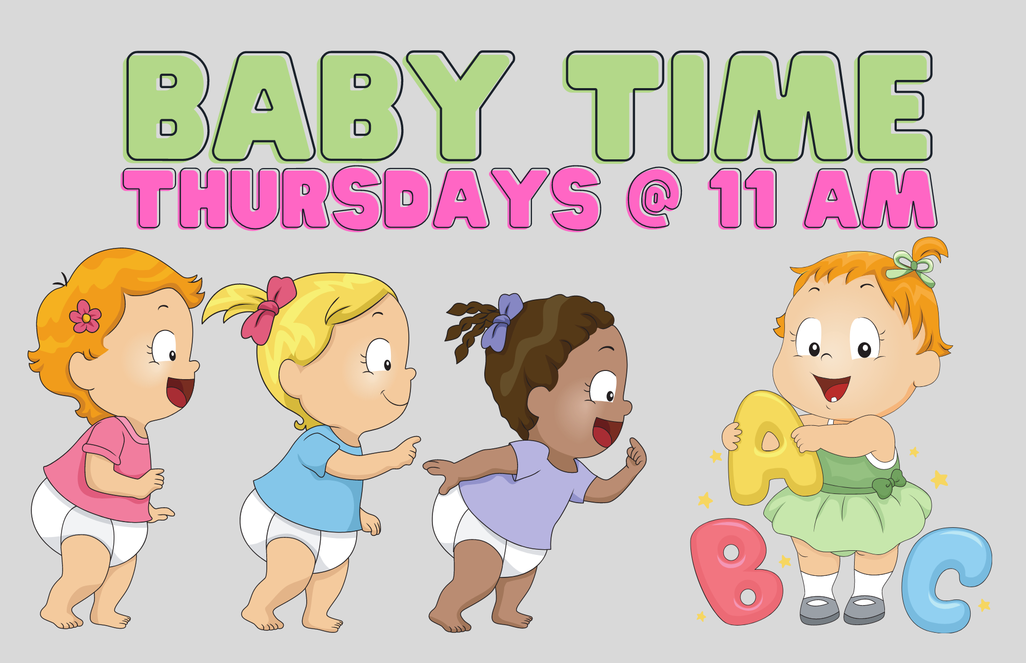 Come on over and join us for songs and fun for ages birth-18 months! Available at the LaGrange Memorial Library every Thursday at 11 AM!