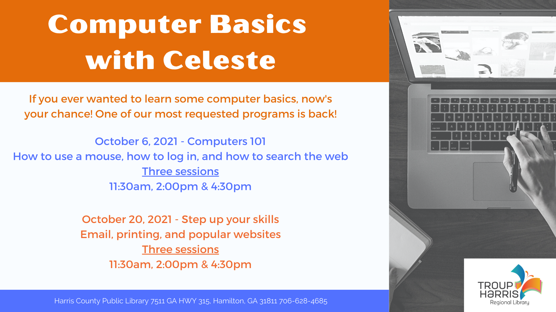 If you ever wanted to learn some computer basics, now's your chance! Join us at the Harris County Public Library on October 20 at 2 PM OR 4:30 PM. One of our most requested programs is back!
