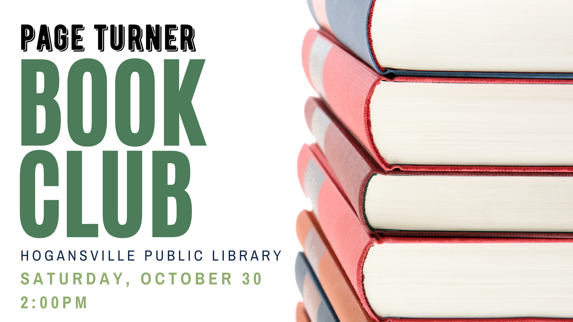What have you been reading lately? Drop by the Hogansville Library on October 30 at 2 PM to share your latest reads. Open to all adults, no library card/registration required. Light refreshments provided.