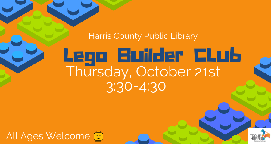 Lego fun for all ages! Join the Lego Builder Club on October 21 from 3:30 to 4:30 PM at the Harris County Public Library and see what you can design next!