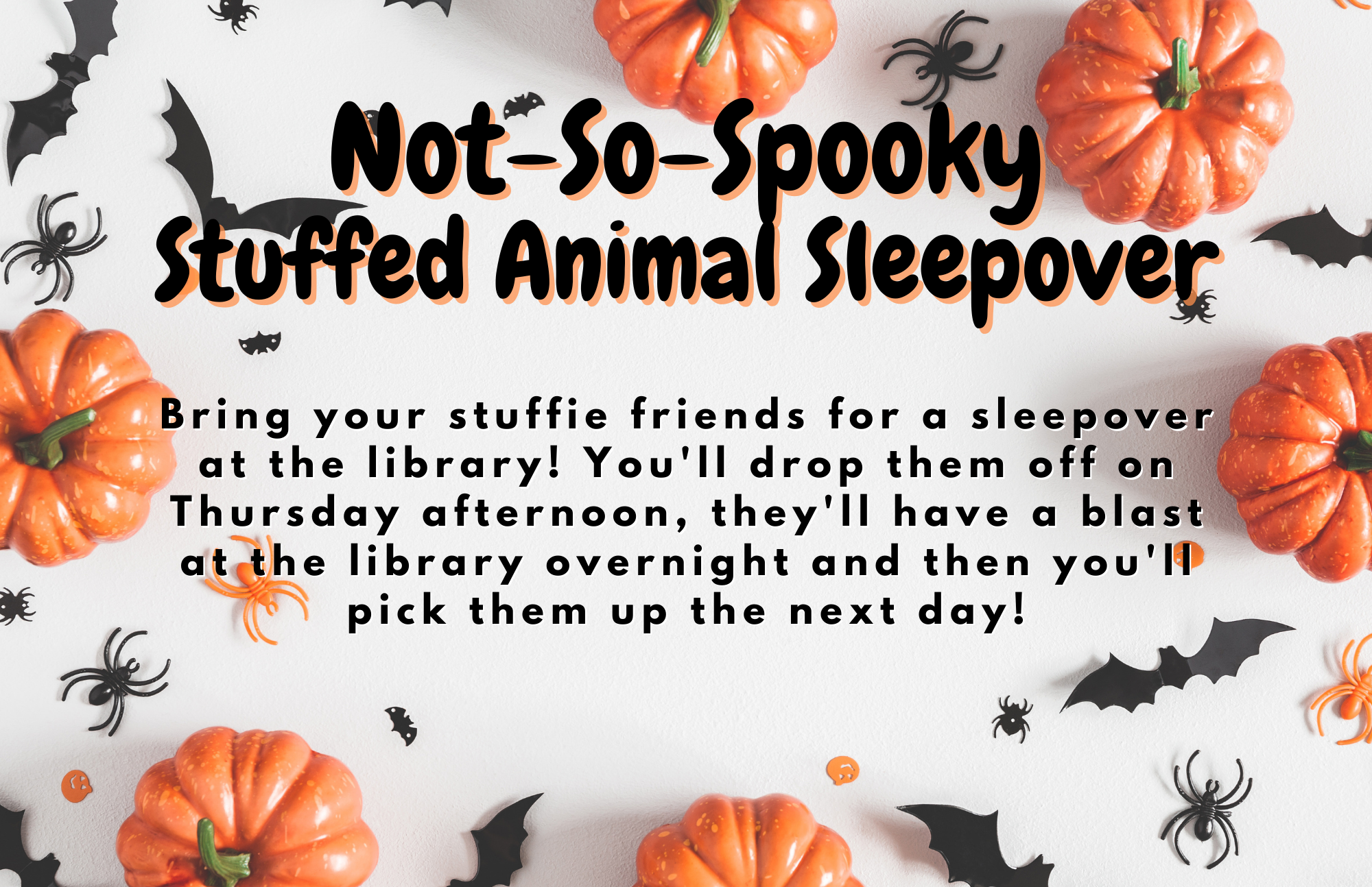 Drop off your stuffie friends at the LaGrange Memorial Library on October 28 for some Halloween-y fun overnight with Mrs. Kate and Mrs. Garit! Don't worry, you'll get them back!